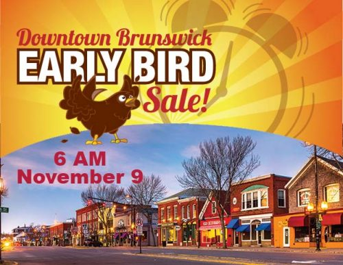 Brunswick's Early Bird Sale - Nov 9 logo and photo of Brunswick
