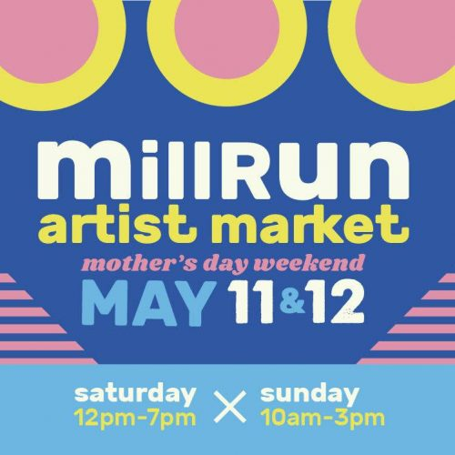 Mill Run Artist Market graphic taking place in Downtown Brunswick