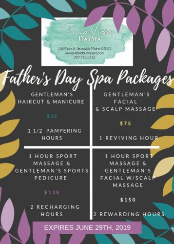 Pura Vida Day Spa Father's Day Special for Brunswick Downtown Association website