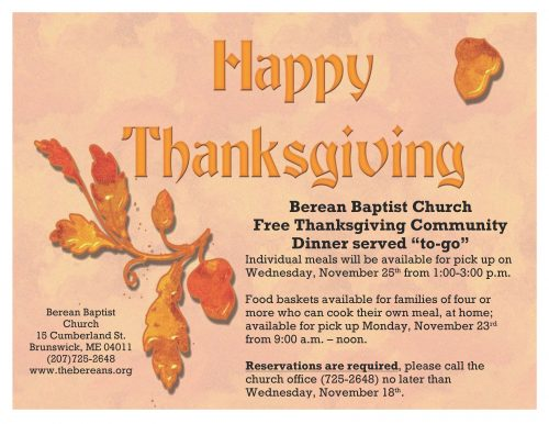 "Berean Baptist Church Free Thanksgiving Community Dinner served ""to-go"""